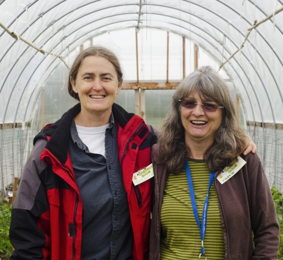Photo of Suzanne with fellow school gardener Valerie Yukluk