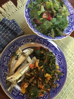 fresh smelt with swiss chard from Sweetbrier Farm