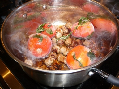 Sauce of frozen tomatoes & basil